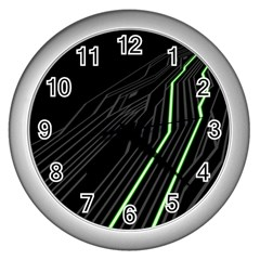 Green Lines Black Anime Arrival Night Light Wall Clocks (silver)  by Mariart
