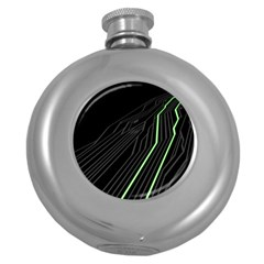 Green Lines Black Anime Arrival Night Light Round Hip Flask (5 Oz) by Mariart