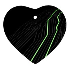 Green Lines Black Anime Arrival Night Light Heart Ornament (two Sides)