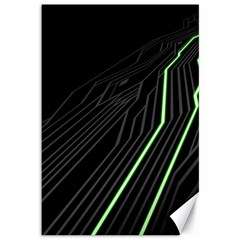 Green Lines Black Anime Arrival Night Light Canvas 12  X 18
