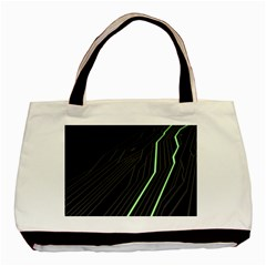 Green Lines Black Anime Arrival Night Light Basic Tote Bag (two Sides) by Mariart