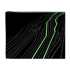 Green Lines Black Anime Arrival Night Light Cosmetic Bag (xl) by Mariart