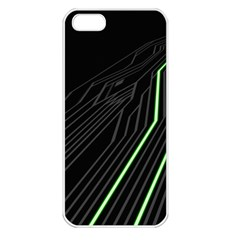 Green Lines Black Anime Arrival Night Light Apple Iphone 5 Seamless Case (white) by Mariart