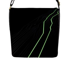 Green Lines Black Anime Arrival Night Light Flap Messenger Bag (l)  by Mariart