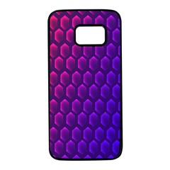 Hexagon Widescreen Purple Pink Samsung Galaxy S7 Black Seamless Case by Mariart