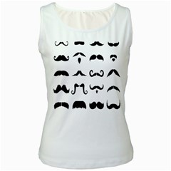 Mustache Man Black Hair Style Women s White Tank Top by Mariart