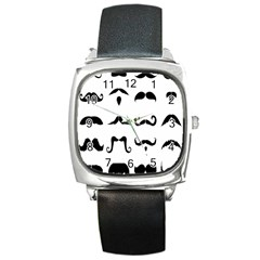 Mustache Man Black Hair Style Square Metal Watch by Mariart