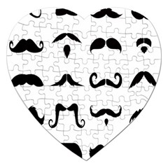 Mustache Man Black Hair Style Jigsaw Puzzle (heart) by Mariart