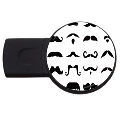 Mustache Man Black Hair Style Usb Flash Drive Round (4 Gb) by Mariart
