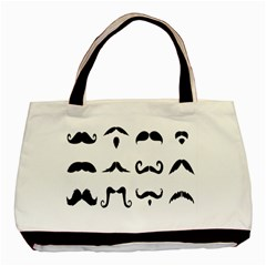 Mustache Man Black Hair Style Basic Tote Bag by Mariart