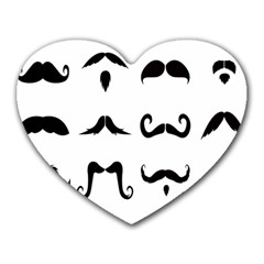 Mustache Man Black Hair Style Heart Mousepads by Mariart