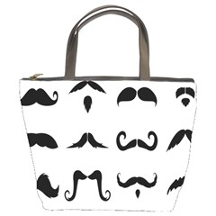 Mustache Man Black Hair Style Bucket Bags by Mariart