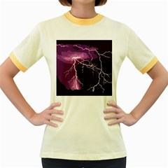 Lightning Pink Sky Rain Purple Light Women s Fitted Ringer T Shirts