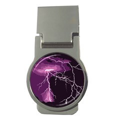 Lightning Pink Sky Rain Purple Light Money Clips (round)  by Mariart