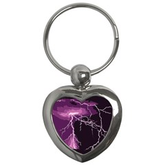 Lightning Pink Sky Rain Purple Light Key Chains (heart)