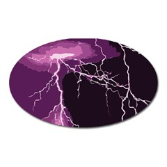 Lightning Pink Sky Rain Purple Light Oval Magnet