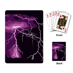 Lightning Pink Sky Rain Purple Light Playing Card by Mariart