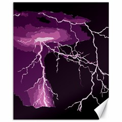 Lightning Pink Sky Rain Purple Light Canvas 11  X 14