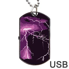 Lightning Pink Sky Rain Purple Light Dog Tag Usb Flash (two Sides) by Mariart