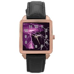 Lightning Pink Sky Rain Purple Light Rose Gold Leather Watch  by Mariart