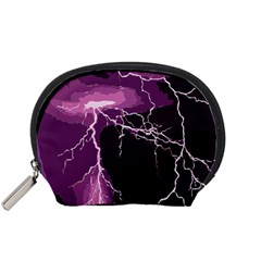 Lightning Pink Sky Rain Purple Light Accessory Pouches (small)  by Mariart