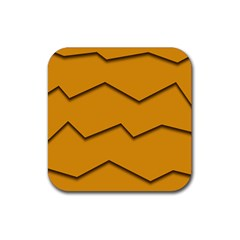 Orange Shades Wave Chevron Line Rubber Square Coaster (4 Pack)  by Mariart