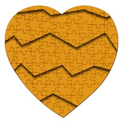 Orange Shades Wave Chevron Line Jigsaw Puzzle (heart) by Mariart