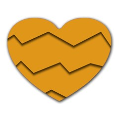 Orange Shades Wave Chevron Line Heart Mousepads by Mariart