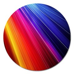 Multicolor Light Beam Line Rainbow Red Blue Orange Gold Purple Pink Magnet 5  (round) by Mariart