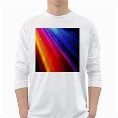 Multicolor Light Beam Line Rainbow Red Blue Orange Gold Purple Pink White Long Sleeve T-shirts by Mariart