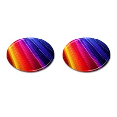 Multicolor Light Beam Line Rainbow Red Blue Orange Gold Purple Pink Cufflinks (oval) by Mariart