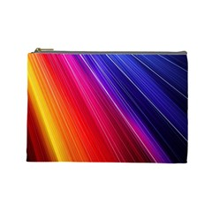 Multicolor Light Beam Line Rainbow Red Blue Orange Gold Purple Pink Cosmetic Bag (large)  by Mariart