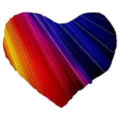 Multicolor Light Beam Line Rainbow Red Blue Orange Gold Purple Pink Large 19  Premium Flano Heart Shape Cushions by Mariart