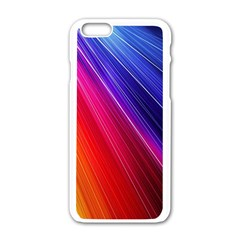Multicolor Light Beam Line Rainbow Red Blue Orange Gold Purple Pink Apple Iphone 6/6s White Enamel Case by Mariart
