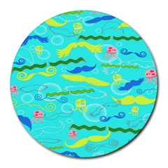 Mustache Jellyfish Blue Water Sea Beack Swim Blue Round Mousepads by Mariart