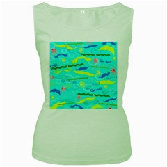Mustache Jellyfish Blue Water Sea Beack Swim Blue Women s Green Tank Top by Mariart