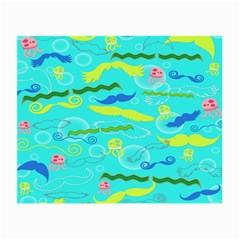 Mustache Jellyfish Blue Water Sea Beack Swim Blue Small Glasses Cloth by Mariart