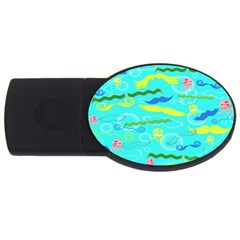 Mustache Jellyfish Blue Water Sea Beack Swim Blue Usb Flash Drive Oval (4 Gb) by Mariart
