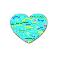 Mustache Jellyfish Blue Water Sea Beack Swim Blue Heart Coaster (4 Pack)  by Mariart