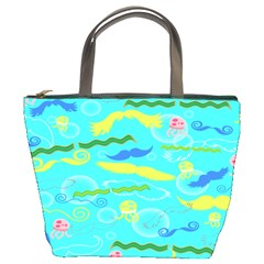 Mustache Jellyfish Blue Water Sea Beack Swim Blue Bucket Bags by Mariart