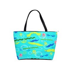 Mustache Jellyfish Blue Water Sea Beack Swim Blue Shoulder Handbags by Mariart