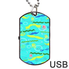 Mustache Jellyfish Blue Water Sea Beack Swim Blue Dog Tag Usb Flash (one Side) by Mariart