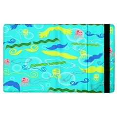 Mustache Jellyfish Blue Water Sea Beack Swim Blue Apple Ipad 3/4 Flip Case by Mariart