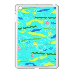 Mustache Jellyfish Blue Water Sea Beack Swim Blue Apple Ipad Mini Case (white) by Mariart