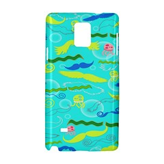 Mustache Jellyfish Blue Water Sea Beack Swim Blue Samsung Galaxy Note 4 Hardshell Case by Mariart