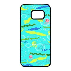 Mustache Jellyfish Blue Water Sea Beack Swim Blue Samsung Galaxy S7 Black Seamless Case
