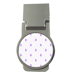 Purple White Hexagon Dots Money Clips (round)  by Mariart