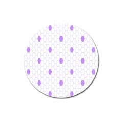 Purple White Hexagon Dots Magnet 3  (round) by Mariart