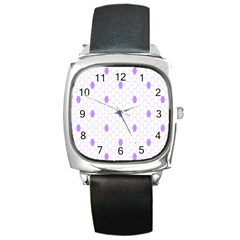 Purple White Hexagon Dots Square Metal Watch by Mariart
