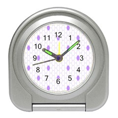 Purple White Hexagon Dots Travel Alarm Clocks by Mariart